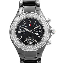 Michele Tahitian Ceramic Diamond Bezel Black Dial Ladies Watch MWW12A000005