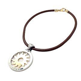 Bulgari Tondo Sun 18k Yellow Gold Steel Pendant Leather Cord Necklace