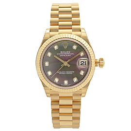 Rolex Datejust 31 President 18K Yellow Gold MOP Diamond Dial Ladies Watch 278278
