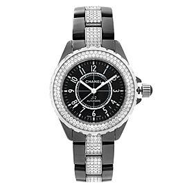 Chanel J12 Ceramic Black Dial Diamonds Bracelet Automatic Ladies Watch H1339
