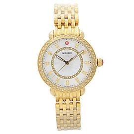 Michele Sidney Classic Steel MOP Diamond Dial Quartz Ladies Watch MWW30B000004