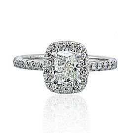 18K White Gold Cushion Cut Diamond Halo Engagement Ring 1.06Cts Size 6.5