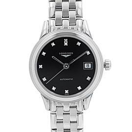Longines Flagship Steel Black Diamond Dial Automatic Ladies Watch L4.274.4.57.6