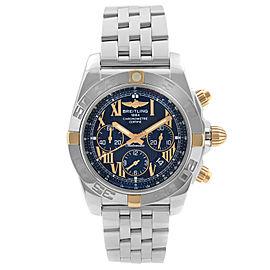 Breitling Chronomat 44 Steel Chronograph Black Dial Men Watch IB011012-B957-375A