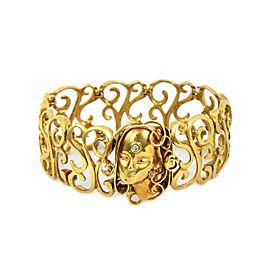 Art Nouveau Diamond 18k Yellow Gold Scroll Woman Cameo Wide Bracelet