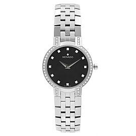 Movado Faceto Diamonds Stainless Steel Black Dial Quartz Ladies Watch 0605586