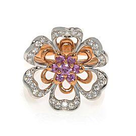 Luca Carati 18K Gold Diamond & Pink Sapphire Cocktail Ring Size 7