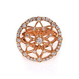 Luca Carati 18K Rose Gold Diamond Large Cocktail Ring 1.21Cttw Size 6.75