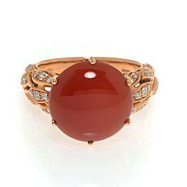 Luca Carati 18k Rose Gold Red Agate Diamond 0.34cttw Ring Size 7.75
