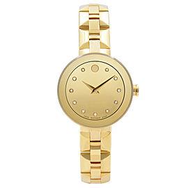 Movado Sapphire Steel Gold PVD Champagne Dial Quartz Ladies Watch 0606816