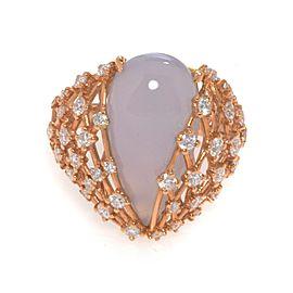 Luca Carati 18K Yellow Gold Chalcedony Gemstone Diamond Ring 1.25Cttw Size 7.5