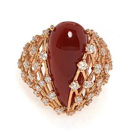 Luca Carati 18K Rose Gold Red Agate Gemstone & Diamonds Ring 1.22Cttw Size 7.75