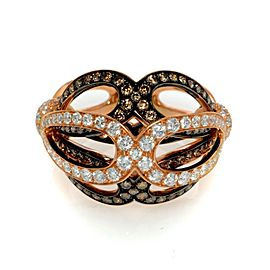 Luca Carati 18K Yellow Gold White & Brown Diamond Ring 1.97Cttw Size 7