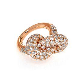 Luca Carati 18K Rose Gold Diamond Wide Knot Ladies Ring 5.05Cttw Size 5.25
