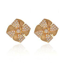 Luca Carati 18K Yellow Gold Diamond Flower Earrings 0.99Cttw