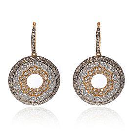 Luca Carati 18K Yellow Gold White & Brown Diamond Drop Earrings 5.73Cttw