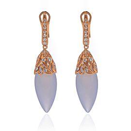 Luca Carati 18K Rose Gold Chalcedony Diamond Drop Earrings 0.45Cttw