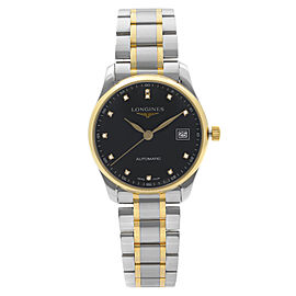 Longines Master Collection 18K Gold Black Diamond Dial Mens Watch L25185577