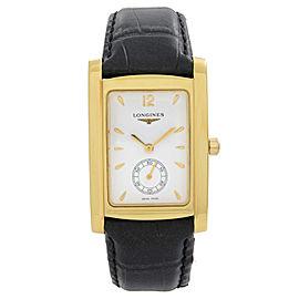 Longines DolceVita 18k Gold White Dial Leather Strap Quartz Mens Watch L56556160