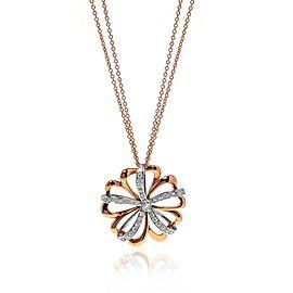 Luca Carati 18K Rose & White Gold Diamond Flower Pendant Long Necklace 0.87Cttw