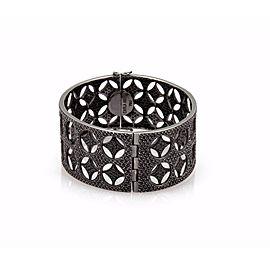 Carla Amorim 8ct Black Diamond Rhodium 18k Gold Wide Fancy Style Bracelet