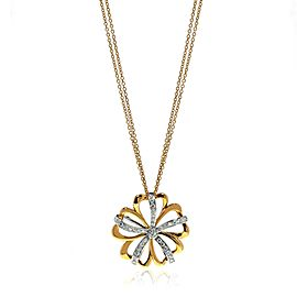 Luca Carati 18K Yellow & White Gold Diamond Flower Pendant Necklace 0.86Cttw