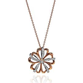 Luca Carati 18K Rose & White Gold Flower Pendant Necklace 0.39Cttw