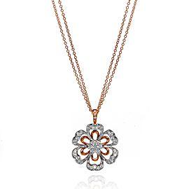 Luca Carati 18K Rose & White Gold Diamond Flower Pendant Necklace 1.11Cttw