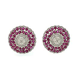 Estate 16.64ct Diamond Ruby 18k White Gold Large Floral Post Clip Earrings