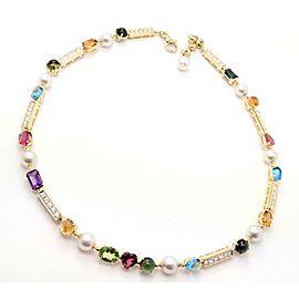Authentic! Bvlgari Bulgari Allegra 18k Gold Diamond Color Stones Pearl Necklace