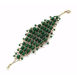 Vintage 18k Yellow Gold Emerald & Pearl Fancy Beaded Bracelet