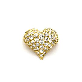 Tiffany & Co. 1 Carat Diamond 18k Yellow Gold Small Heart Brooch