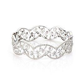 Modern One Carat Diamond 18k White Gold Open Milgrain Leaf Design Bracelet