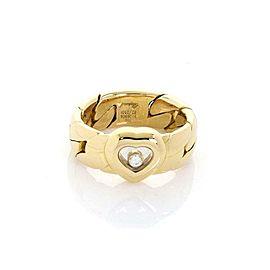 Chopard Happy Diamond 18k Yellow Gold Heart Curb Link Flex 7mm Band Ring