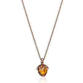 Luca Carati 18K Rose Gold Citrine & Diamond Pendant Necklace 0.10Cttw
