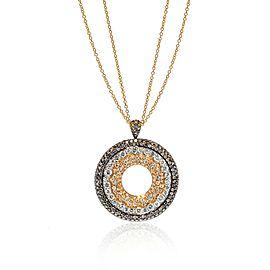 Luca Carati 18K Yellow Gold White & Brown Diamond Pendant Large Necklace 6.82