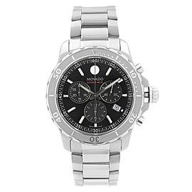 Movado Series 800 42mm Chronograph Steel Black Dial Quartz Mens Watch 2600110