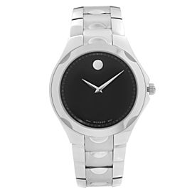 Movado Luno Museum Stainless Steel Black Dial Quartz Mens Watch 0606378