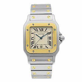 Cartier Santos Galbee 29 Steel Gold Off-White Dial Unisex Quartz Watch W20011C4