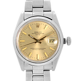 Vintage Rolex Date 34mm Stainless Steel Champagne Dial Automatic Men Watch
