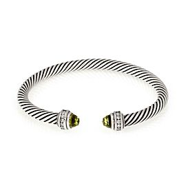 David Yurman Diamond Peridot Sterling Silver 5mm Cable Cuff Bracelet