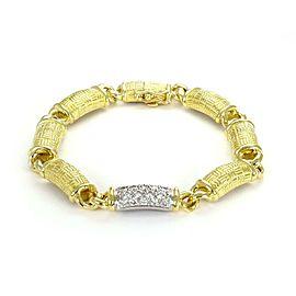 Platinum 18k YGold 1 Carat Diamond Textured Curved Bar Link Bracelet