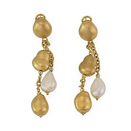 Roberto Coin Pearls 18k Yellow Gold Double Strand Nugget Dangle Earrings
