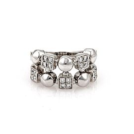 Bvlgari Bulgari Lucia Diamond 18k White Gold Geometric Shape Flex Band Ring