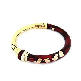 Designer Soho Red Enamel 18k Yellow Rose Gold Flex Bangle