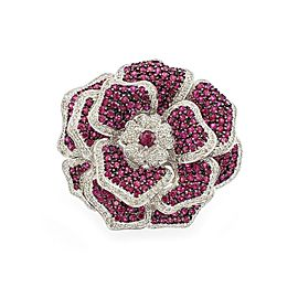 Stunning 12.90ct Diamond Ruby 18k White Gold Extra Large Flower Ring Size 7.5