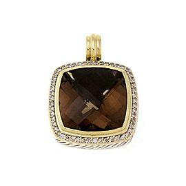 David Yurman Albion Diamond Smoky Quartz 925 Silver 18k Gold Pendant