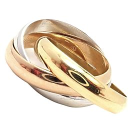 Authentic! Cartier Trinity 18k Tricolor Gold Trinity Wide Band Ring Size 57
