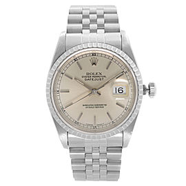 Rolex Datejust 36mm Holes Steel Silver Dial Automatic Mens Watch 16220