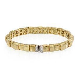Roberto Coin Appassionata Diamond 18k Gold 8mm Wide Basket Weave Bracelet